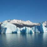 Iceberg floating in Lago Argentina broken off from the Perito Moreno Glacier